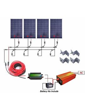 400 Watts Off Grid Solar Power System: 4pcs 100w Polycrystalline Solar Panel + 1000w Pure Sine Wave Inverter + 30 A Pwm Charge Controller + Solar Cable Adapter + Y Mc4 Connectors + Z Brackets by Eco Worthy