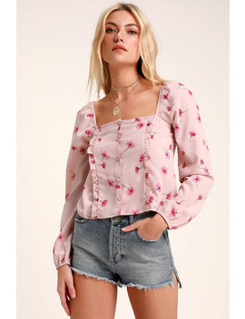 Rosalina Blush Floral Print Long Sleeve Top by Amuse Society