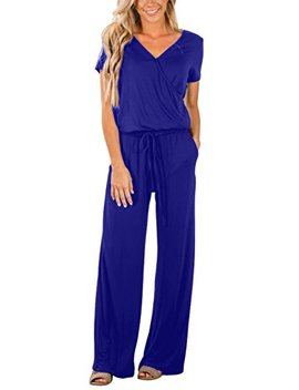 Asyoly Women Casual Long Pants Loose Wide Legs Jumpsuits Rompers Short Sleeve V Neck Pockets by Asyoly