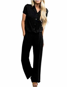 Built Clear Women's Short Sleeve V Neck Stretchy Wide Legs Long Pant Jumpsuits Rompers With Pockets by Built Clear