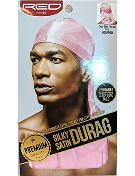 Red By Kiss Premium Silky Satin Durag Men's Cap Doo Rag (Pink) by Red Kiss