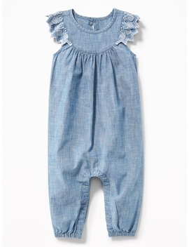 Chambray Embroidered Flutter Sleeve Jumpsuit For Baby by Old Navy