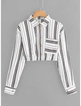 Chest Pocket Striped Crop Shirt by Sheinside
