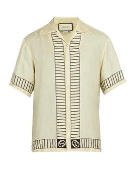 Ny Yankees Print Silk Shirt by Gucci