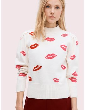 Lips Mockneck Sweater by Kate Spade