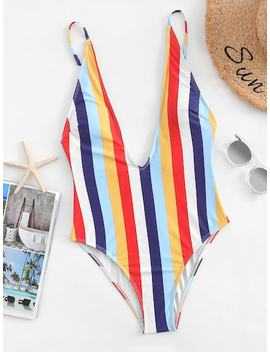 V Plunge Striped One Piece Swimsuit by Sheinside