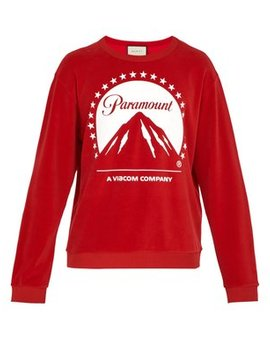 Paramount Print Velvet Sweater by Gucci