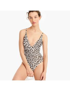 Plunge V Neck One Piece Swimsuit In Leopard by J.Crew