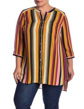 Button Front Long Sleeves Tunic Blouse (Plus Size) by Dr2 By Daniel Rainn