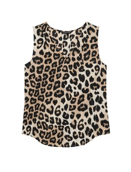 Petite Leopard Pleated Drapey Tank by Banana Repbulic