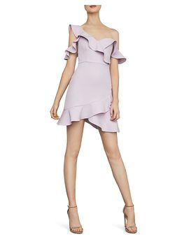 Ruffled Cold Shoulder Dress   100 Percents Exclusive by Bcbgmaxazria