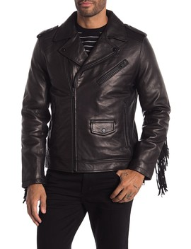 Fringe Lamb Leather Biker Jacket by Daniel Won