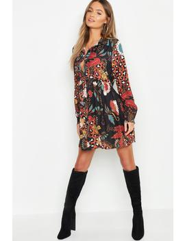 Boho Mix Print Oversized Smock Dress by Boohoo