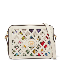 Cutout Leather And Floral Print Canvas Shoulder Bag by Gucci
