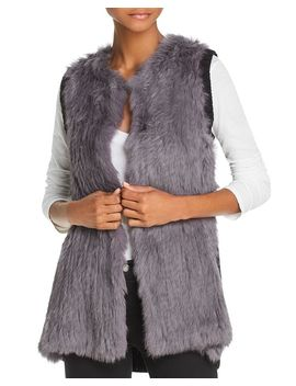 Knit Back Real Rabbit Fur Vest by 525 America