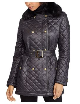 Faux Fur Trim Double Breasted Front Quilted Jacket by Lauren Ralph Lauren