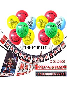 13 Pc Combo Balloons + 10 Ft Banner Roblox Double Sided Banner W/ 14 Ft Nylon Party Supplies Decorations Balloon Balloons Favors Goody Bags Centerpiece Cupcake Cup Cake Topper Toppers by Jewelesparty