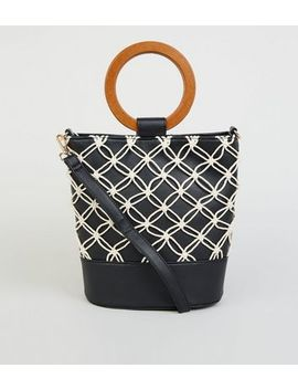 Black Leather Look Macrame Bucket Bag by New Look