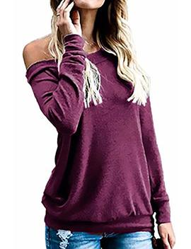 Kabuee Women's Sexy Boat Neck Off The Shoulder Long Sleeve Tunic Tops Casual Loose T Shirt Blouses by Kabuee