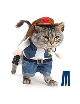 Mikayoo Pet Dog Cat Halloween Costumes,The Cowboy Party Christmas Special Events Costume,West Cowboy Uniform Hat,Funny Pet Cowboy Outfit Clothing Dog Cat by Mikayoo
