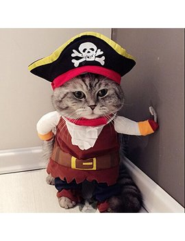 Idepet Funny Pet Clothes Pirate Dog Cat Costume Suit Corsair Dressing Up Party Apparel Clothing For Cat Dog Plus Hat by Idepet
