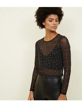 Black Diamanté Mesh Top by New Look
