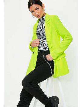 Neon Lime Tailored Long Blazer by Missguided