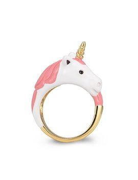Sassy Flashy Exquisite 18 K Gold Plated Hand Painted Unicorn Ring With Gift Box by Sassy Flashy