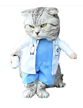 Mikayoo Pet Dog Cat Halloween Costume Doctor Nurse Costume Dog Jeans Clothes Cat Funny Apperal Outfit Uniform by Mikayoo