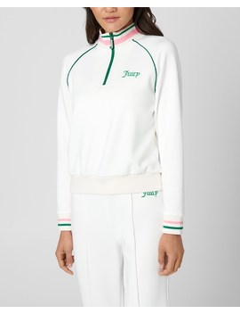 Tricot Tennis Halp Zip Pullover by Juicy Couture