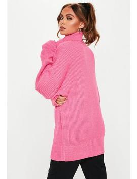 Premium Pink Roll Neck Boyfriend Jumper by Missguided