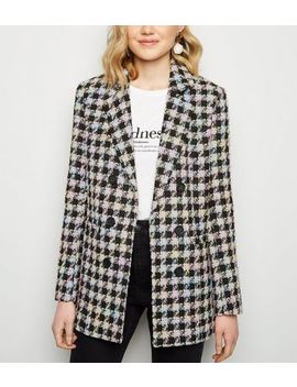 Black Check Bouclé Coat by New Look