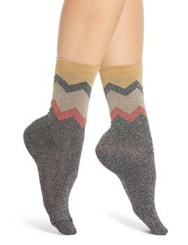 Nancy Metallic Chevron Ankle Socks by Sarah Borghi