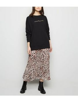 Brown Leopard Print Pleated Midi Skirt by New Look