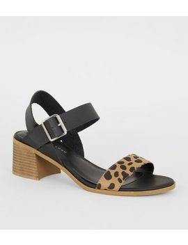 Brown Animal Print Strap Low Heel Sandals by New Look