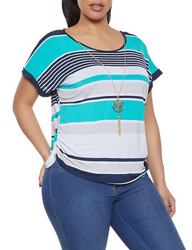 Plus Size Striped Top With Necklace by Rainbow