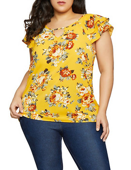 Plus Size Floral Flutter Sleeve Top by Rainbow