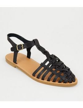 Black Leather Look Cage Front Sandals by New Look