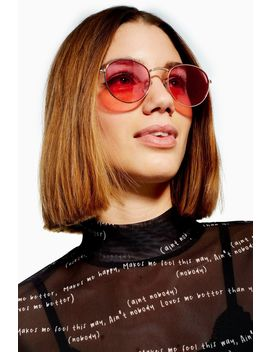 Metro Round Red Sunglasses by Topshop