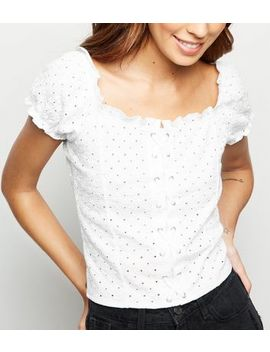 White Broderie Lattice Front Top by New Look