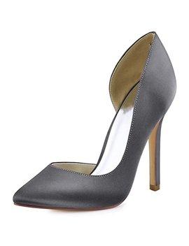 Elegant Park Women's Pointed Toe High Heel D'orsay Satin Dress Pumps by Elegant Park
