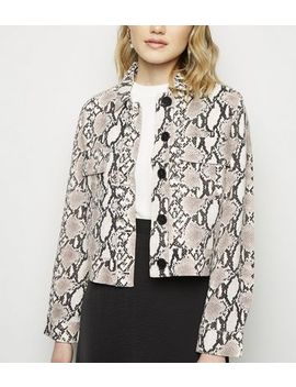Black Snake Print Linen Look Trucker Jacket by New Look