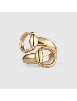 Horsebit Ring In Yellow Gold by Gucci
