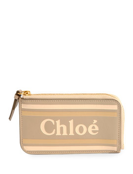 Zip Card Case With Logo And Striping by Chloe