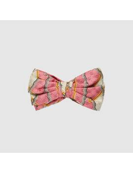 Silk Headband With Snake Rhombus Print by Gucci