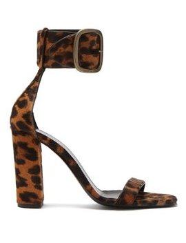Loulou Buckled Leopard Print Sandals by Saint Laurent