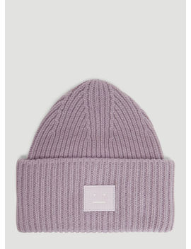 Pansy N Face Knit Hat In Purple by Acne Studios
