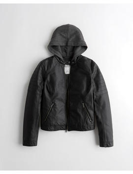 Hooded Faux Leather Moto Jacket by Hollister