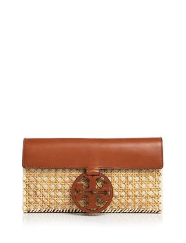 Miller Rattan & Leather Clutch by Tory Burch