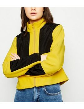 Cameo Rose Yellow Colour Block Fleece Jacket by New Look
